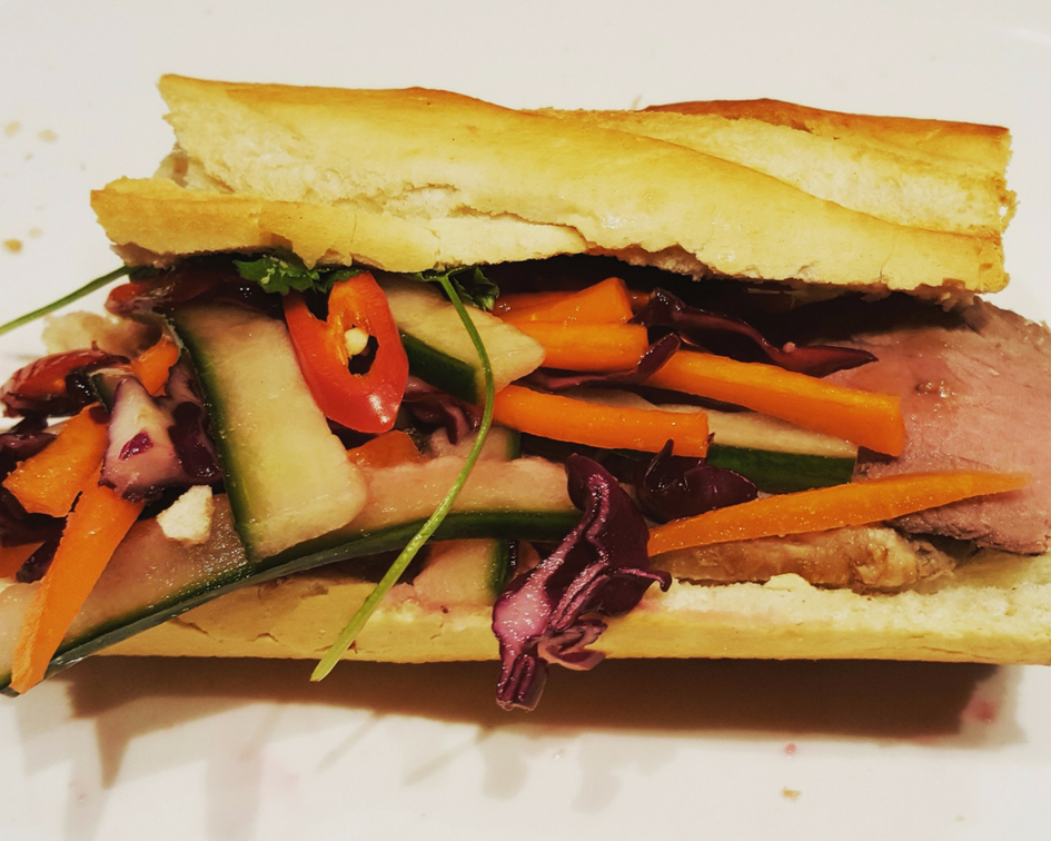 Fuss Free Bahn Mi with leftover roast beef