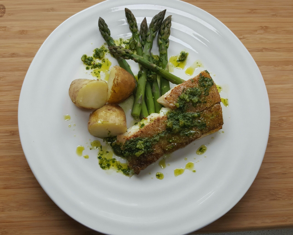 Haddock with Asparagus, Jersey Royals and Salmoriglio