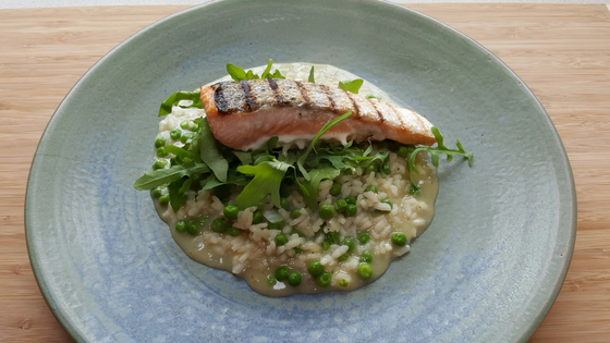 Risotto style rice and peas with salmon