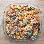 Sweet potato, swede and spring greens gratin